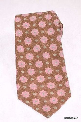 KITON Napoli Hand-Made Seven Fold Brown/Pink Flower Medallion Silk Tie NEW - SARTORIALE - 1