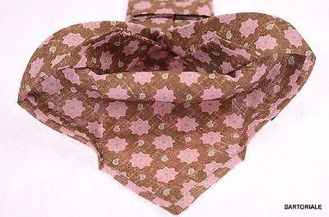 KITON Napoli Hand-Made Seven Fold Brown/Pink Flower Medallion Silk Tie NEW - SARTORIALE - 2