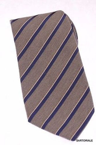 KITON Napoli Hand-Made Seven Fold Gray Narrow-Striped Silk Tie NEW - SARTORIALE - 1