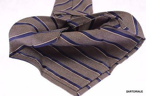 KITON Napoli Hand-Made Seven Fold Gray Narrow-Striped Silk Tie NEW - SARTORIALE - 2
