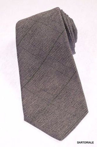 KITON Napoli Hand-Made Seven Fold Gray Textured Plaid Silk Tie NEW - SARTORIALE - 1