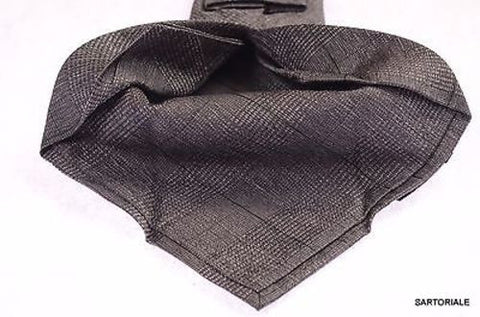 KITON Napoli Hand-Made Seven Fold Gray Textured Plaid Silk Tie NEW - SARTORIALE - 2
