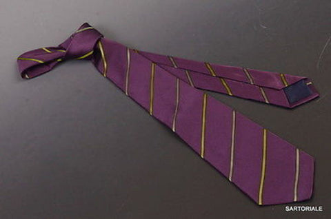 KITON Napoli Hand-Made Seven Fold Purple-Green Striped Silk Tie NEW - SARTORIALE - 1