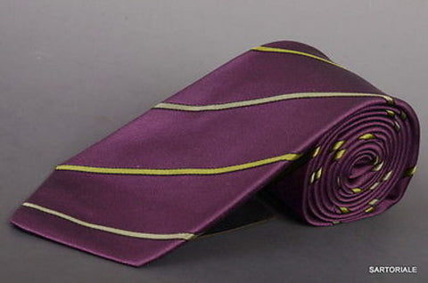 KITON Napoli Hand-Made Seven Fold Purple-Green Striped Silk Tie NEW - SARTORIALE - 2