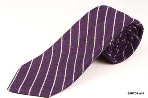 KITON Napoli Hand-Made Seven Fold Purple Striped Cashmere-Silk Tie NEW - SARTORIALE - 1