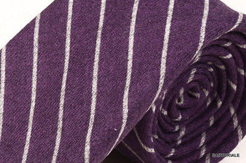 KITON Napoli Hand-Made Seven Fold Purple Striped Cashmere-Silk Tie NEW - SARTORIALE - 2
