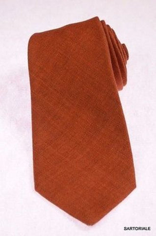 KITON Napoli Hand-Made Seven Fold Solid Brown Wool-Silk Tie NEW - SARTORIALE - 1