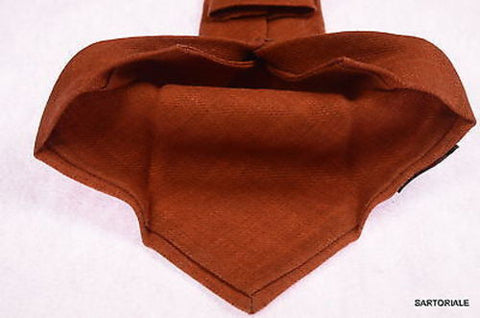 KITON Napoli Hand-Made Seven Fold Solid Brown Wool-Silk Tie NEW - SARTORIALE - 2
