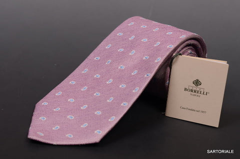LUIGI BORRELLI NAPOLI Hand Made Light Purple Silk Seven Fold Tie NEW - SARTORIALE - 1