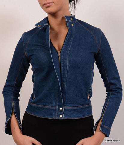 DONNA KARAN Signature Blue Denim Cotton Motorcycle Jean Jacket Size S / 4 - SARTORIALE - 1