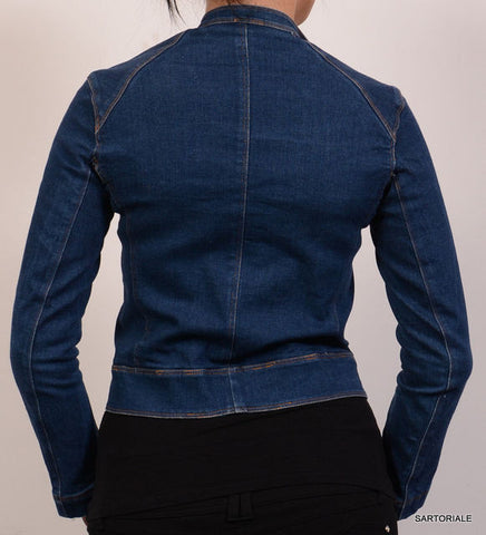 DONNA KARAN Signature Blue Denim Cotton Motorcycle Jean Jacket Size S / 4 - SARTORIALE - 3