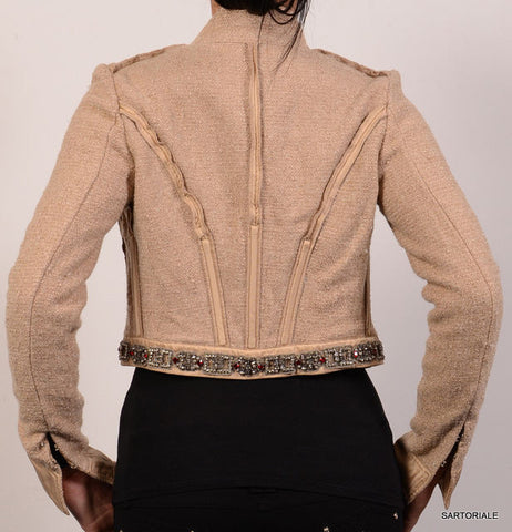 ROBERTO CAVALLI Beige Short Jacket Size IT 42 NEW US 6 / S - SARTORIALE - 3