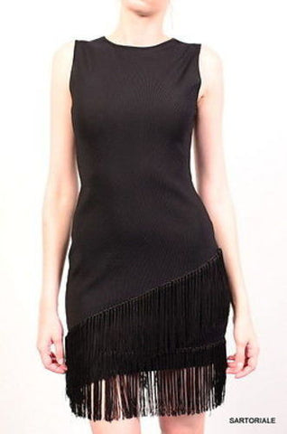 "AZZARO Paris Black ""Grandiose"" Fringed Cocktail Dress Size FR 36 US 6 - SARTORIALE"