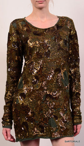 BALMAIN PARIS Sequined Army Green Top Dress FR 40 NEW US 10 / M - SARTORIALE