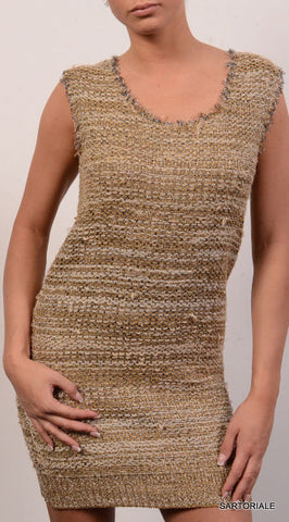 CHLOE ITALY Gold & Silver Silk Metallic Stripe Dress NEW Size S - SARTORIALE - 1