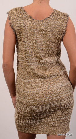 CHLOE ITALY Gold & Silver Silk Metallic Stripe Dress NEW Size S - SARTORIALE - 3