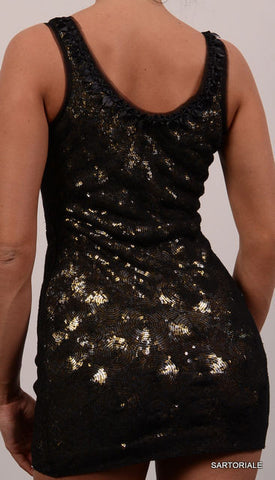 JASMINE DI MILO Universe Black with Gold Sequined Dress EU 36 NEW US 4 / S - SARTORIALE - 3