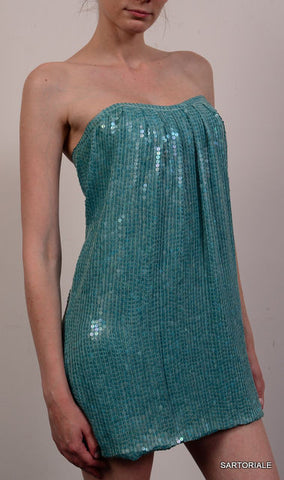 JAY AHR Paris Turquoise Blue Silk Sequin Bustier Cocktail Dress Size S / US 4 - SARTORIALE - 2