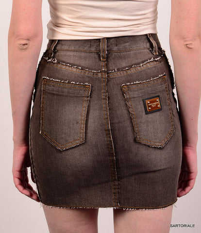 DOLCE & GABBANA ITALY Gray Cotton Denim Jeans Skirt IT 38 NEW US 2 / XS - SARTORIALE - 3