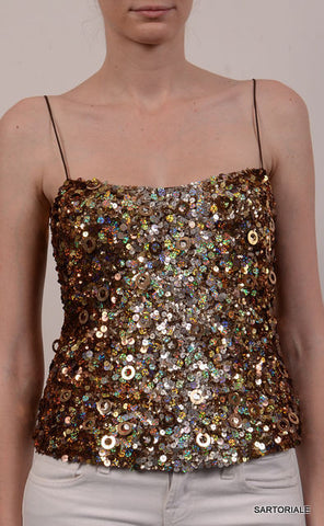 BLUMARINE Made in Italy Top With Gold Sequin IT 42 NEW US 6 / S - SARTORIALE - 2