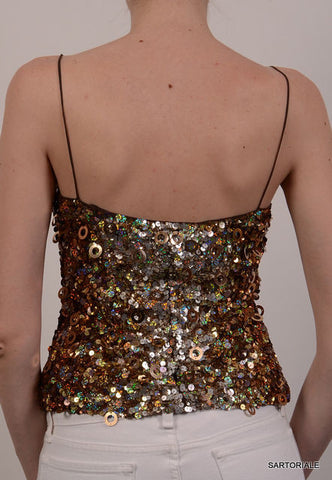 BLUMARINE Made in Italy Top With Gold Sequin IT 42 NEW US 6 / S - SARTORIALE - 3