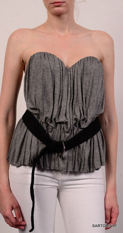 LA PETITE S***** Gray Sleeveless Top with Belt Size EU 40 NEW US 10 - SARTORIALE - 1