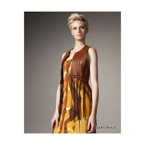 EMILIO PUCCI Brown Fringed Leather Vest IT 42 NEW US 6 / S - SARTORIALE - 1