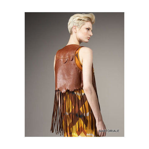 EMILIO PUCCI Brown Fringed Leather Vest IT 42 NEW US 6 / S - SARTORIALE - 2