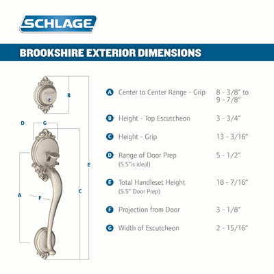 Schlage Brookshire Front Entry Handleset with Accent Lever