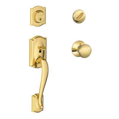Schlage Camelot Front Entry Handleset with Plymouth Knob