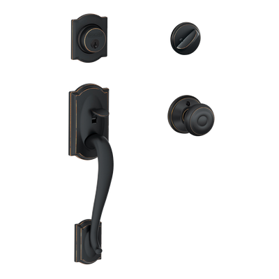 Schlage Camelot Front Entry Handleset with Georgian Knob