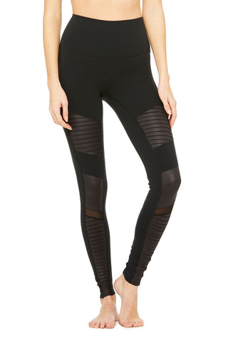 High Waist Moto Legging - Black/Black Glossy