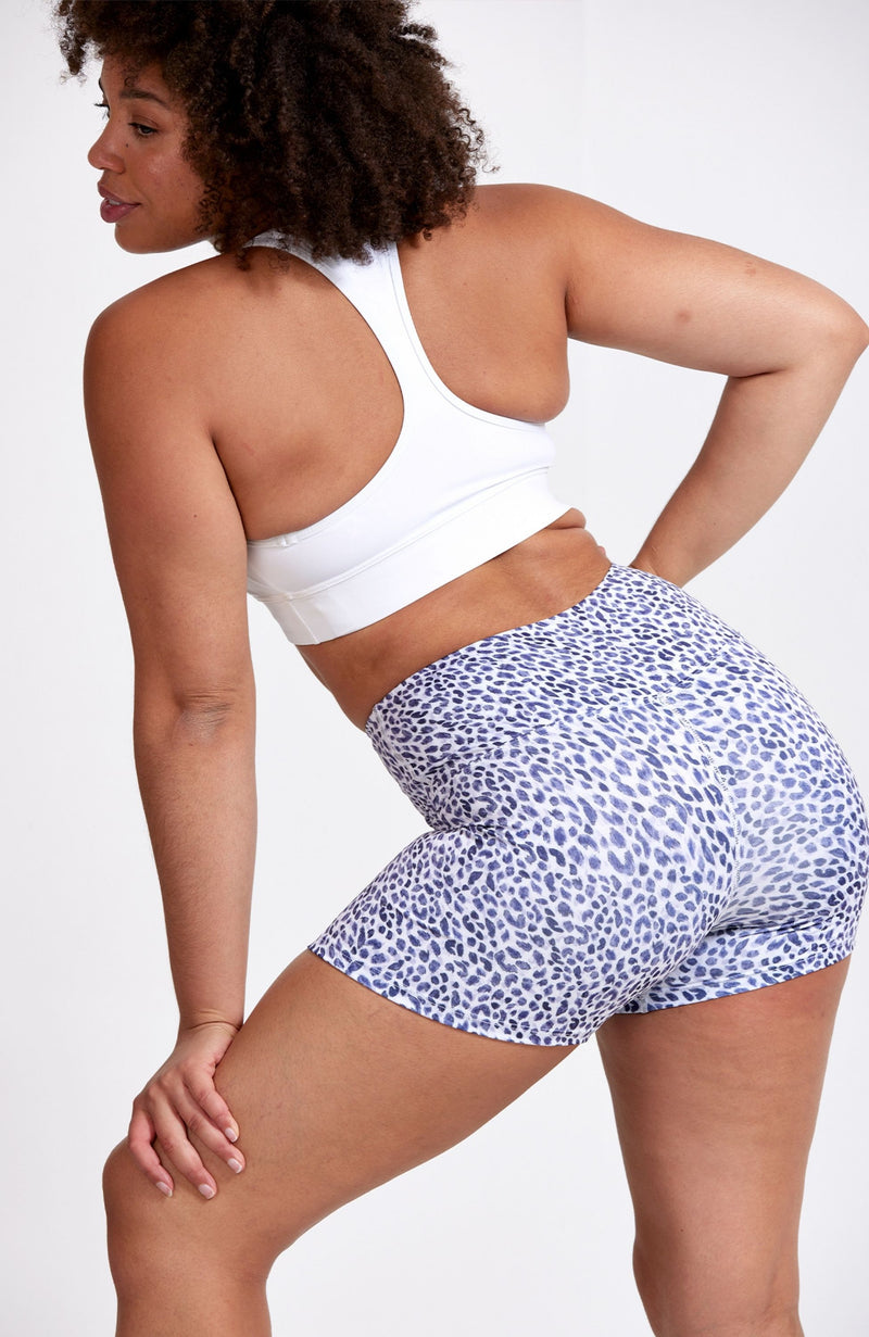 High Waisted, animal print, gym short. Sustainable and ethical.