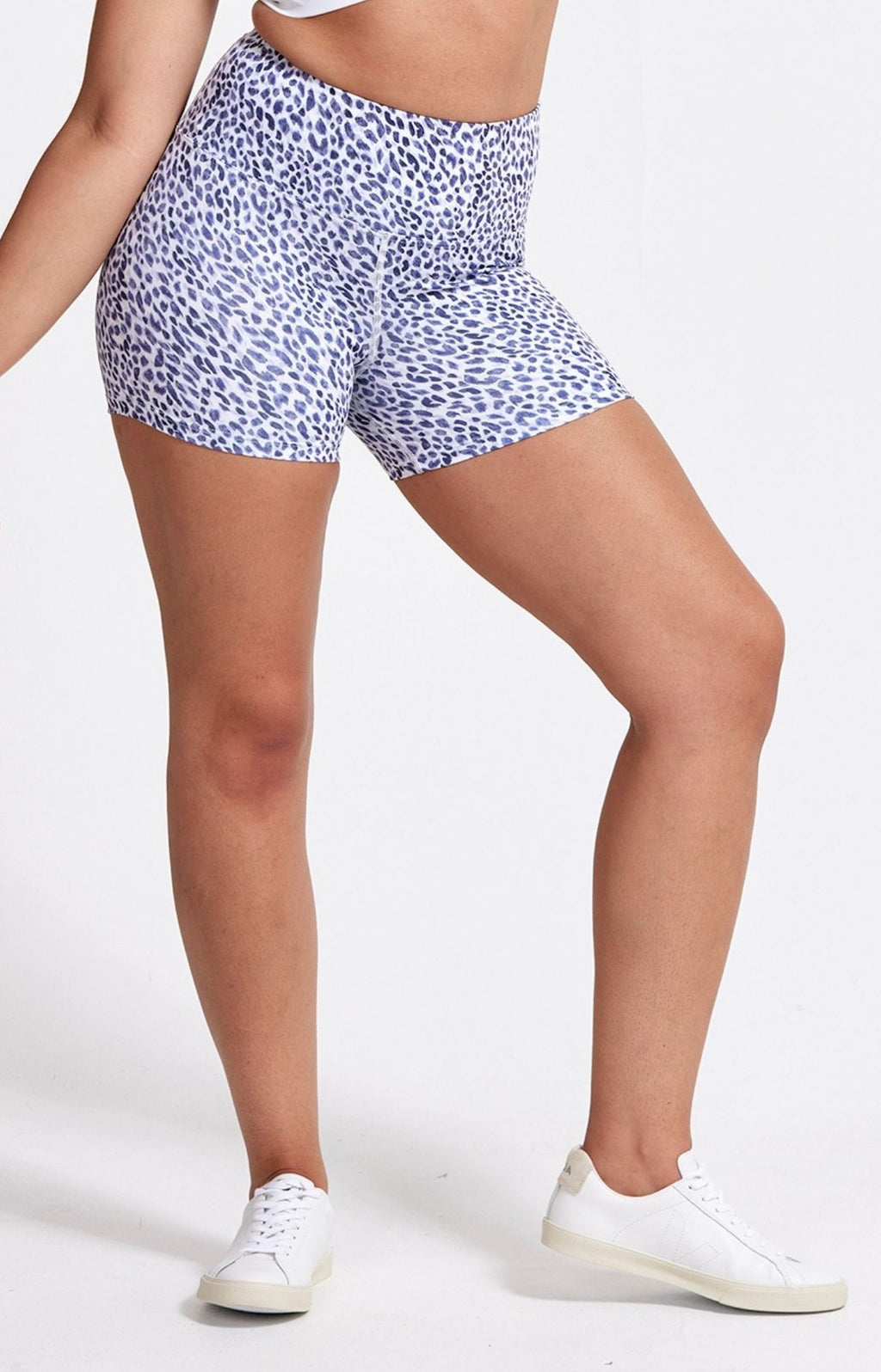 High Waisted, animal print, athletic short. Sustainable and ethical.