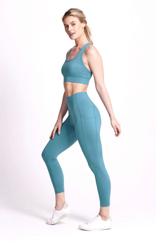 High Waisted, plain teal, 7/8 length pocket legging. Sustainable and ethical.