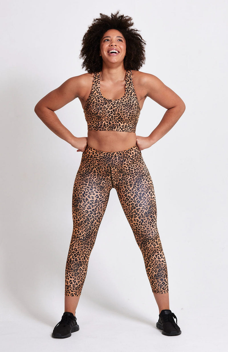 Racerback, cheetah animal print, fuller coverage, removable padding, medium support. Sustainable and ethical.