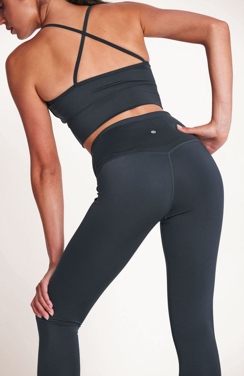 High Waisted, deep green, full length legging. Sustainable and ethical.