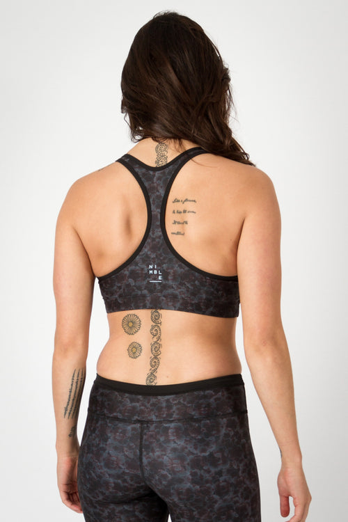 Nimble Activewear Stella Crop Midnight Pansies Sweat Society Canada USA