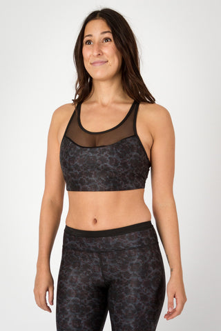 Midnight Pansies/Mesh - Stella Crop Top ...