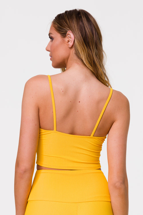 Onzie Sweat Society Belle Cami Crop Yellow Rib USA CANADA