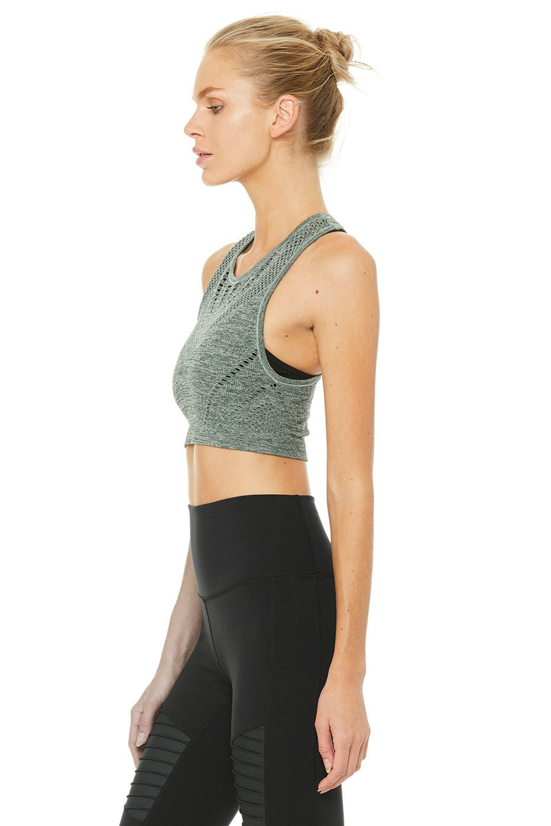 Alo Lark Crop Top Hunter Heather Sweat Society Canada USA