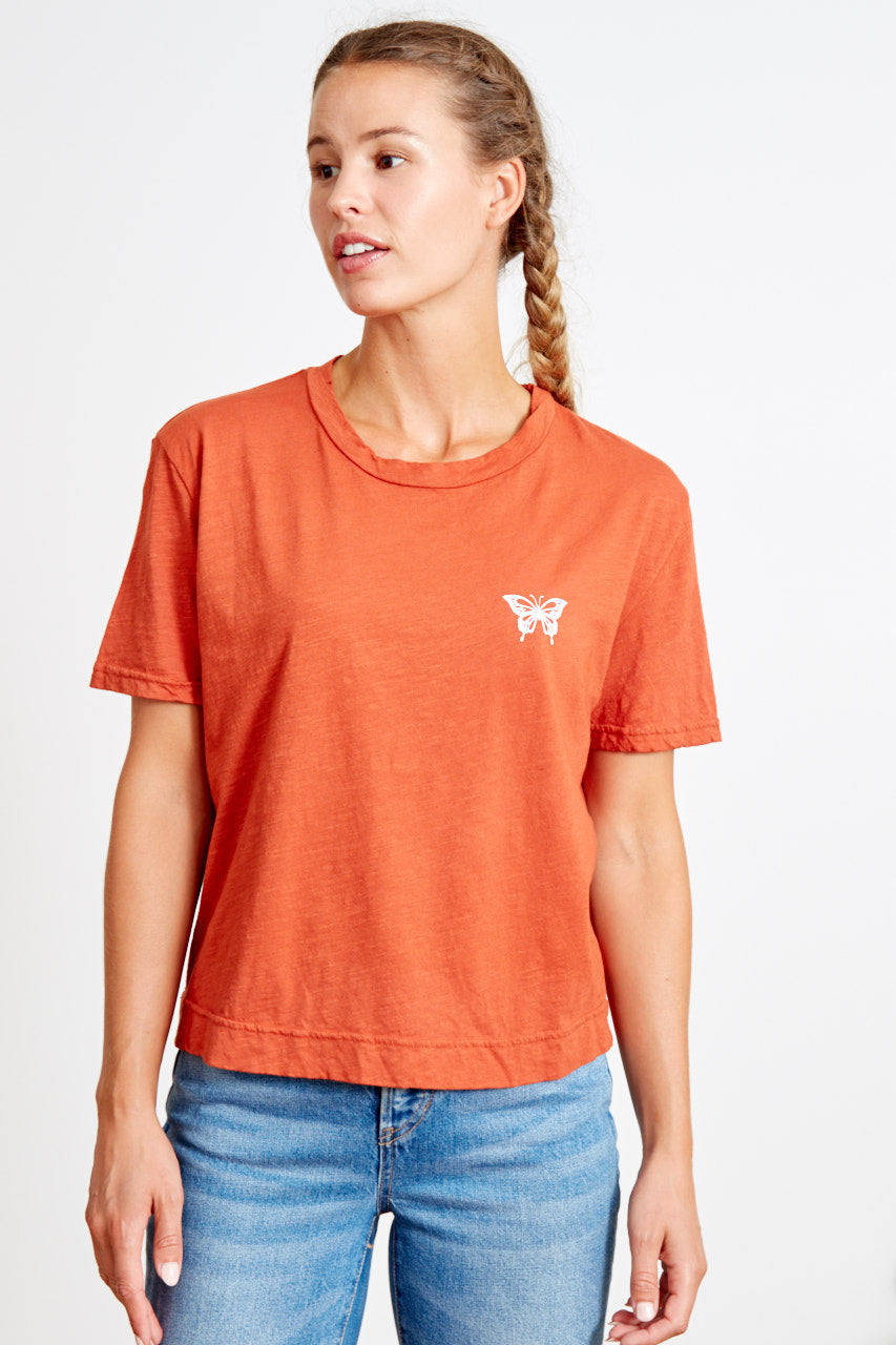 good hyouman boxy crop vintage tee terracotta butterfly ethical clothing women