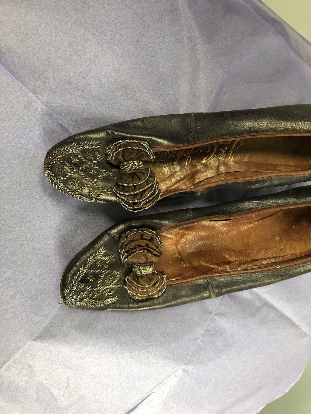 J&C Johnston - Victorian Brown Glove Soft Leather Beaded Shoes Low heel