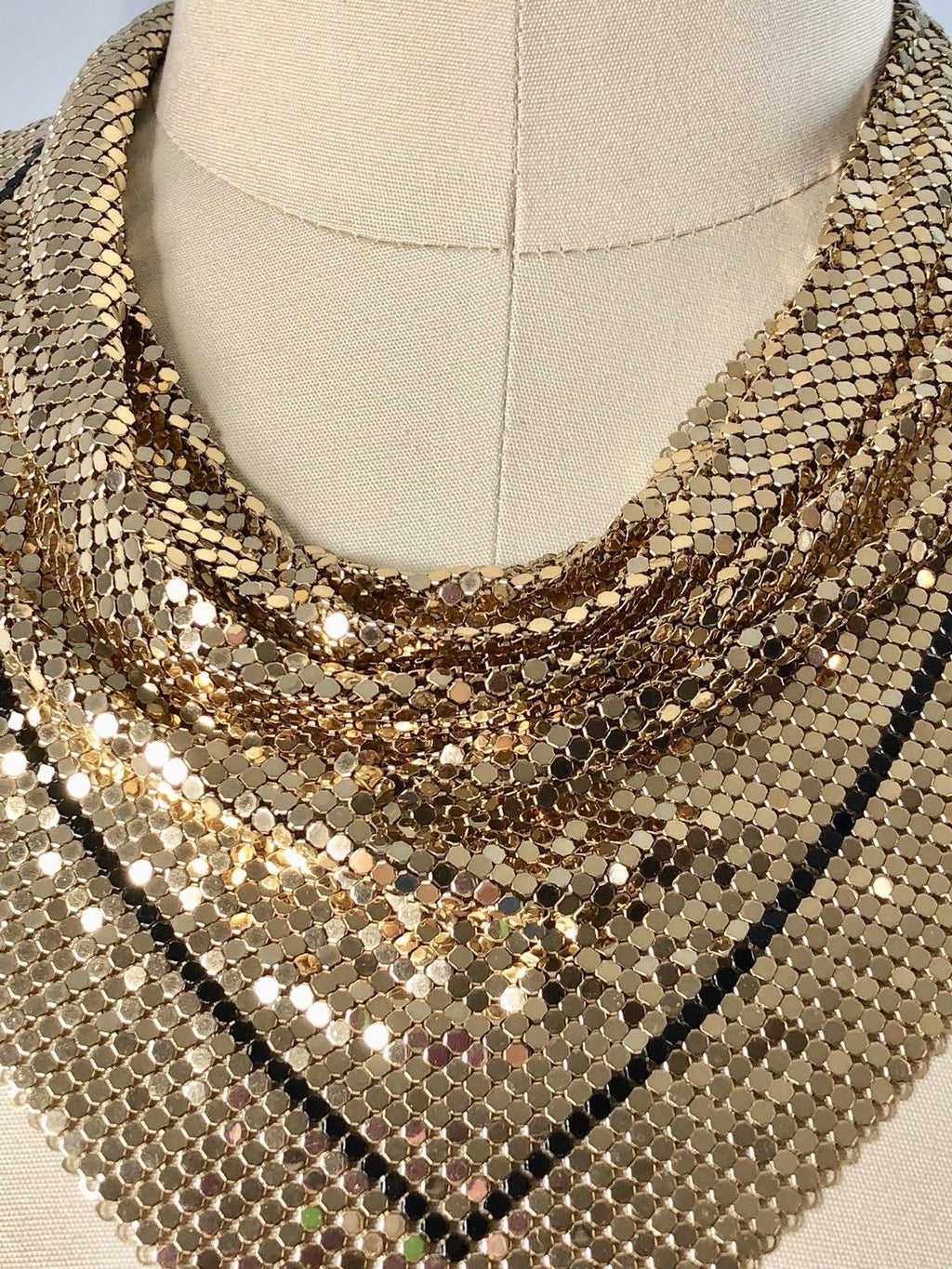 Whiting And Davis Vintage 70s 1970s Gold Mesh Bib Cowl Necklace Dickie 20 inches