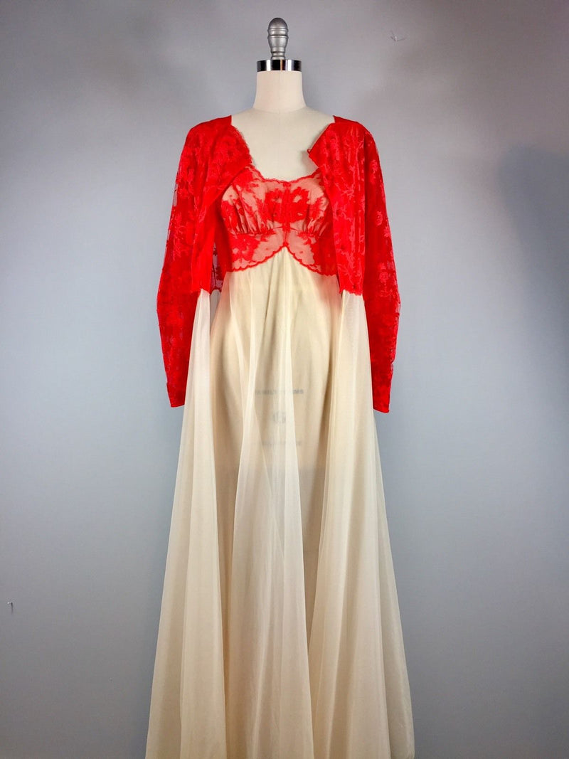 Vanity Fair Vintage 50s 1950s Red Ivory Lace Nylon Tricot Peignoir Gown Size 32