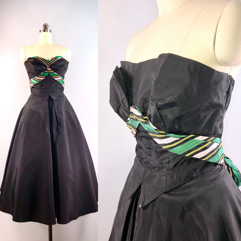 Fred Perlberg 40s Dress / Vintage 1940s dress / Black Taffeta Formal Nipped Waist 33 bust