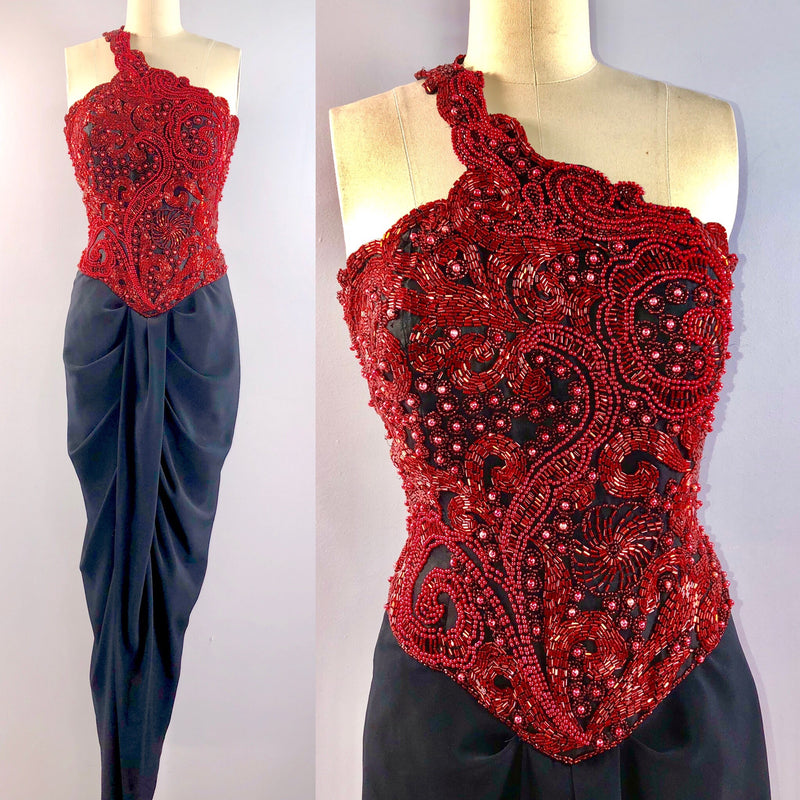 Oleg Cassini Black Tie 80s Dress Vintage 1980s One Shoulder Red Beaded Gown Formal 34 bust