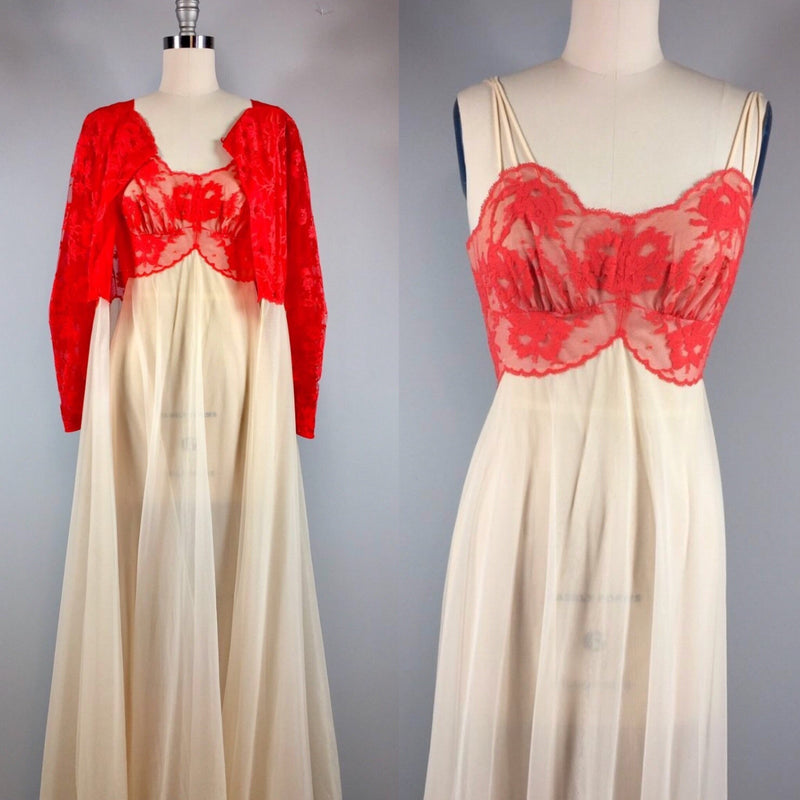 Vanity Fair 50s Negligee Vintage Red White Lace Peignoir Night Gown Robe Set 32 Bust