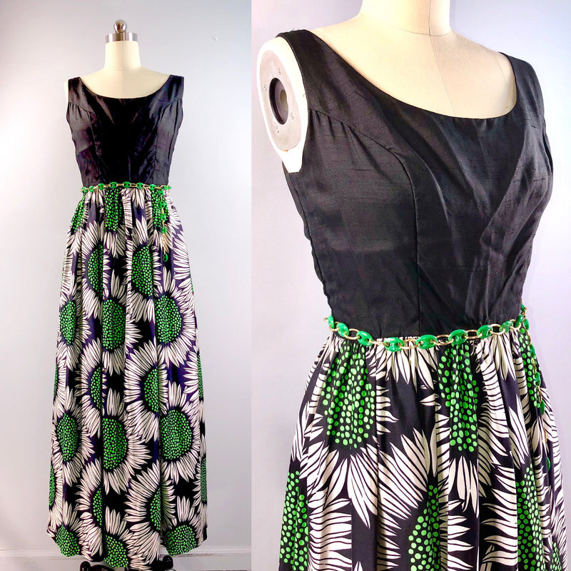 Gale Mitchel 60s Dress Vintage 1960s Sun Flower Floral Maxi Silk Black Green Party Cocktail 40 bust