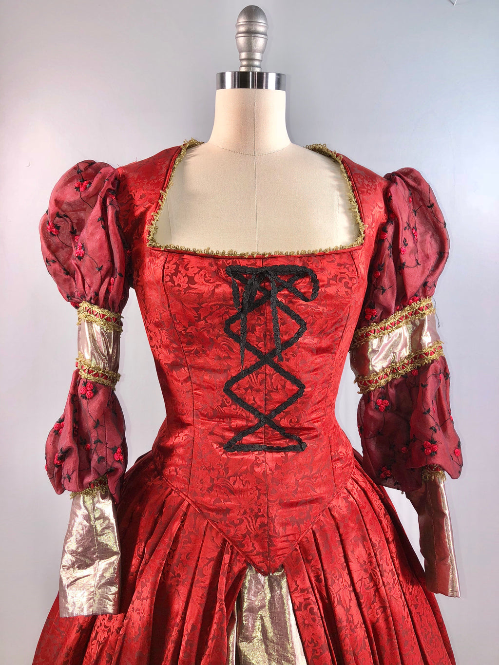 Vintage Victorian Civil War Costume Dress Gown Cosplay Red Silk Gold